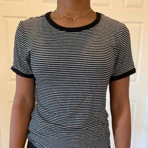 Forever 21 Black and White Striped Cropped Tee